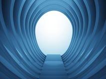 Escalier vers le bas dans la construction ovale dans la lumière bleue Photo stock