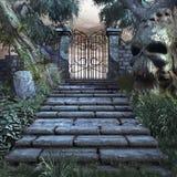 Escaliers au jardin dangereux Images stock