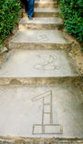 Escaliers avec le numéro un, deux, trois Images stock