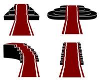 Escaliers avec le tapis rouge, icônes de vecteur réglées Photos libres de droits