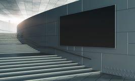 Escaliers concrets avec le panneau d'affichage vide Photographie stock libre de droits