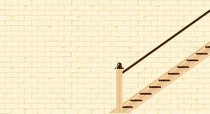 Escaliers contre un mur de briques illustration stock