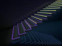 Escaliers dans les lampes au néon montant pour matraquer ou la disco 3d illustration libre de droits