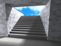 Escaliers de souterrain d'architecture vers le haut des étapes à la sortie avec le ciel Image libre de droits