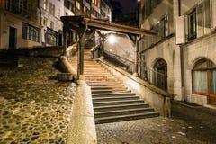 Escaliers du Марш, ночь, Лозанна, Швейцария стоковые изображения