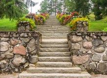 Escaliers en pierre avec des fleurs en parc de ville image libre de droits
