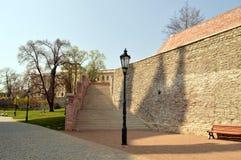 Escaliers en pierre en parc, monument i n la République Tchèque Photographie stock libre de droits