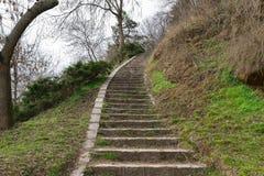 Escaliers en pierre menant à un sommet image libre de droits