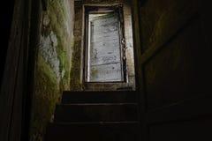Escaliers foncés avec la vieille et blanche porte menant vers le bas au sous-sol foncé photo stock