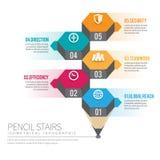Escaliers isométriques Infographic de crayon Images libres de droits