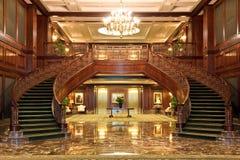 Escaliers jumeaux au-dessus de l'étage de marbre Photographie stock