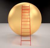 Escaliers sur des sphères d'or rendues Photos stock