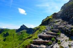 Escaliers sur une traînée de montagne photographie stock libre de droits