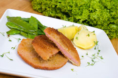 Escalope chasseur with potatoes and peppers Royalty Free Stock Images