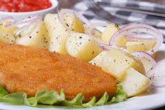 Escalope con las patatas hervidas jóvenes horizontales. macro Imagen de archivo libre de regalías