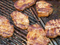 Escalope on grill Royalty Free Stock Photo