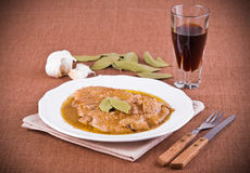 Escalope with marsala wine. Royalty Free Stock Images