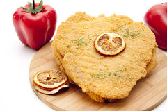 Escalope raw with paprikas Stock Photo