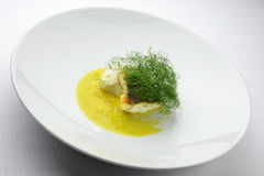 Escalope of sea bass with fennel puree in citrus sauce Stock Photography