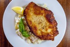 Escalope vienés con la ensalada de patata Imagen de archivo libre de regalías