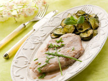 Escalope with white wine sauce stock photo