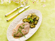 Escalope with white wine sauce stock photos