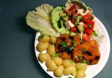 Escalopes met noedels en salade Royalty-vrije Stock Afbeeldingen