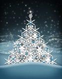 Escamas de la nieve del árbol de navidad Imagen de archivo