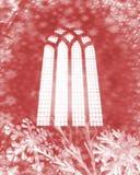 Escamas de la nieve y ventana de la iglesia Imagenes de archivo