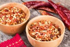Escamas de pimienta roja machacadas Imagen de archivo libre de regalías