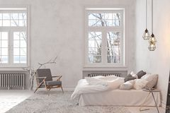 Escandinavo, dormitorio blanco vacío interior del desván ilustración del vector