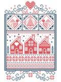 Escandinavo elegante do Natal, inverno nórdico do estilo costurando, teste padrão que inclui o floco de neve, coração, casa de pã Imagem de Stock