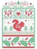Escandinavo elegante do Natal, inverno nórdico do estilo costurando, teste padrão que inclui o floco de neve, coração, esquilo, b Fotos de Stock