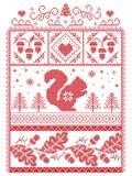Escandinavo elegante do Natal, inverno nórdico do estilo costurando, teste padrão que inclui o floco de neve, coração, esquilo, b Foto de Stock Royalty Free