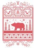 Escandinavo elegante do Natal, inverno nórdico do estilo costurando, teste padrão que inclui o floco de neve, coração, urso polar Fotos de Stock Royalty Free