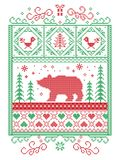 Escandinavo elegante do Natal, inverno nórdico do estilo costurando, teste padrão que inclui o floco de neve, coração, urso polar Imagem de Stock Royalty Free