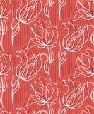 Escandinavo primitivo do design floral sem emenda vermelho do teste padr?o das tulipas ilustração royalty free