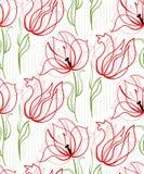 Escandinavo primitivo inconsútil del diseño floral del vector del modelo de los tulipanes rojos stock de ilustración