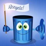 Escaninho de lixo azul engraçado para Recycle ilustração royalty free