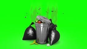Escaninho de lixo fétido e sacos de lixo animação 3D Tela verde, loopable ilustração stock