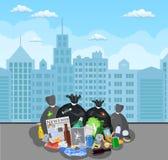 Escaninho de lixo de a?o completamente do lixo ilustração royalty free