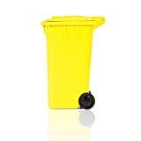 Escaninho de recicl amarelo vazio imagens de stock royalty free
