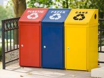 Escaninho de recicl três Imagens de Stock Royalty Free