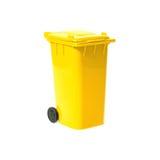 Escaninho de recicl vazio amarelo fotos de stock