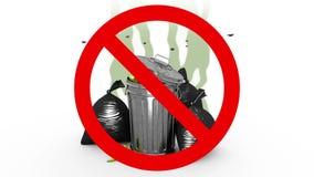 Escaninho e sacos de lixo fétido no sinal proibido animação 3D no estilo dos desenhos animados ilustração royalty free