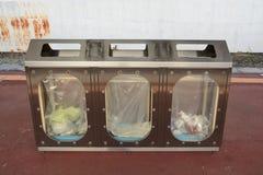 Escaninhos da reciclagem e de lixo Fotografia de Stock