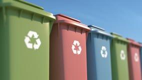 Escaninhos de lixo coloridos para a proteção ambiental ilustração royalty free