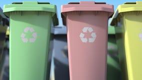 Escaninhos de reciclagem pl?sticos com para classifica??o do lixo dom?stico, close-up Anima??o de Loopable ilustração do vetor