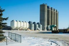 Escaninhos e silos em uma jarda de exploração agrícola Fotografia de Stock Royalty Free