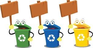 Escaninhos e sinais engraçados de recicl ilustração do vetor
